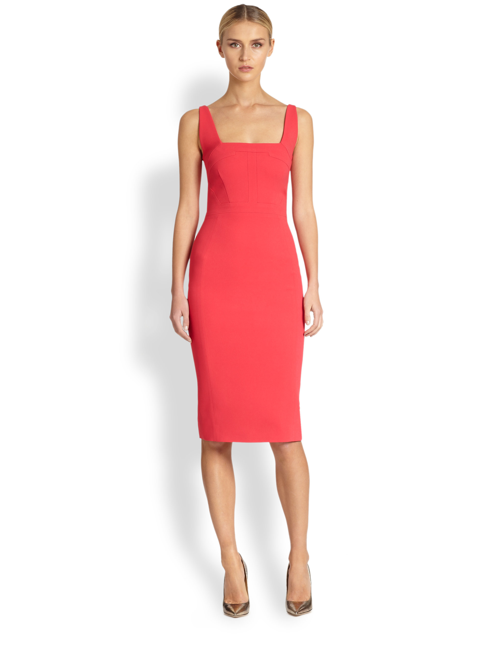 Antonio berardi Sleeveless Sheath Dress in Orange | Lyst