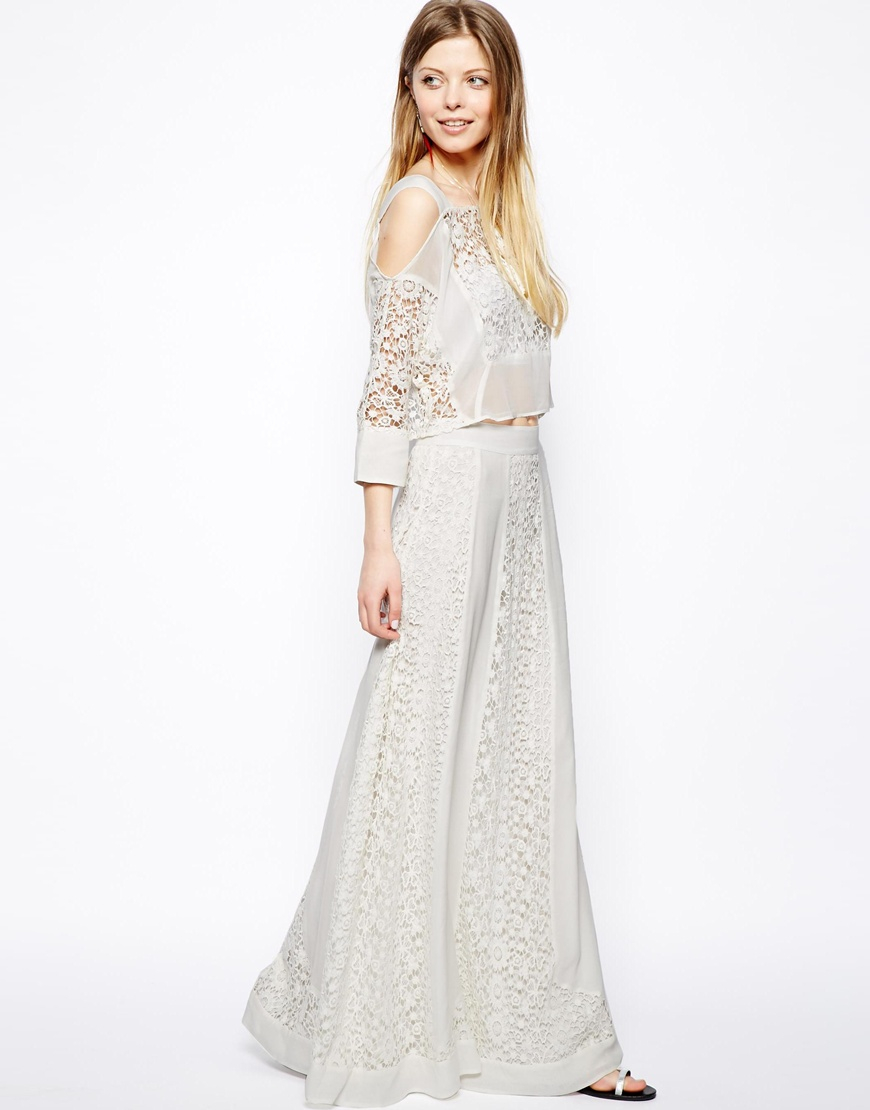 Asos Premium Maxi Skirt In Vintage Lace in Gray | Lyst