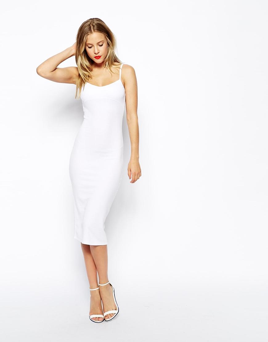 7bdfdbf8be3 ASOS Midi Cami Bodycon Dress In Rib in White - Lyst
