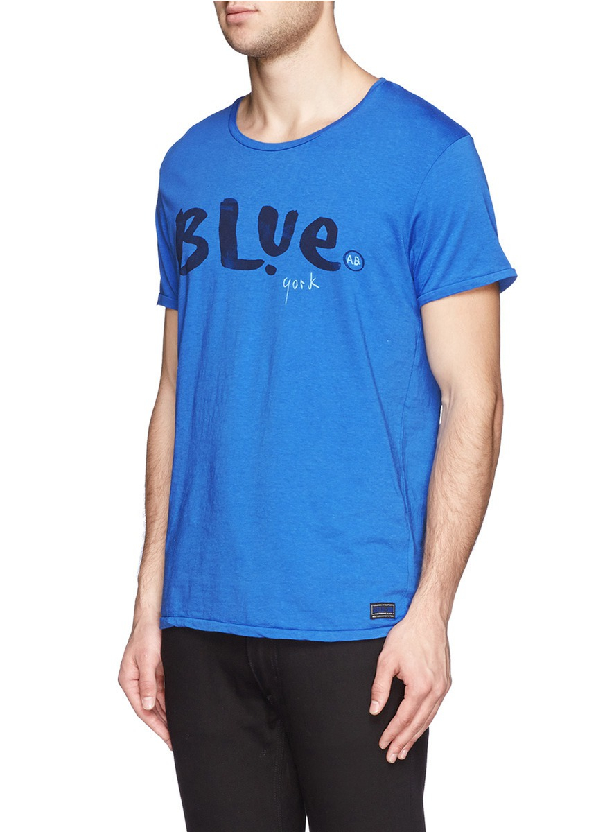 Scotch Soda 39 Blue York 39 Print T Shirt In Blue For Men