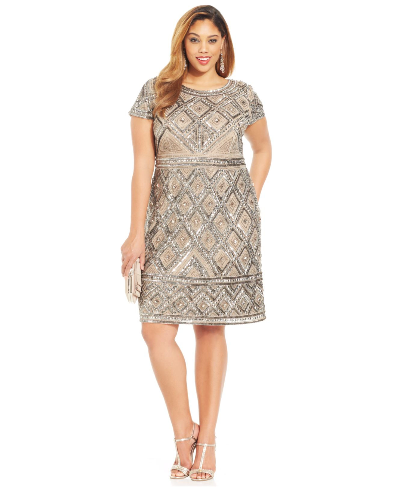 Lyst - Adrianna Papell Plus Size Short-Sleeve Beaded ...