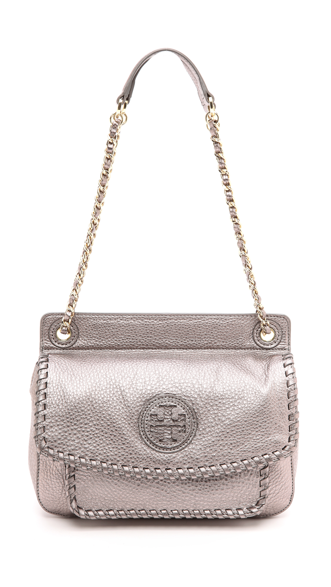 Lyst Tory Burch Marion Small Shoulder Bag Black In Purple