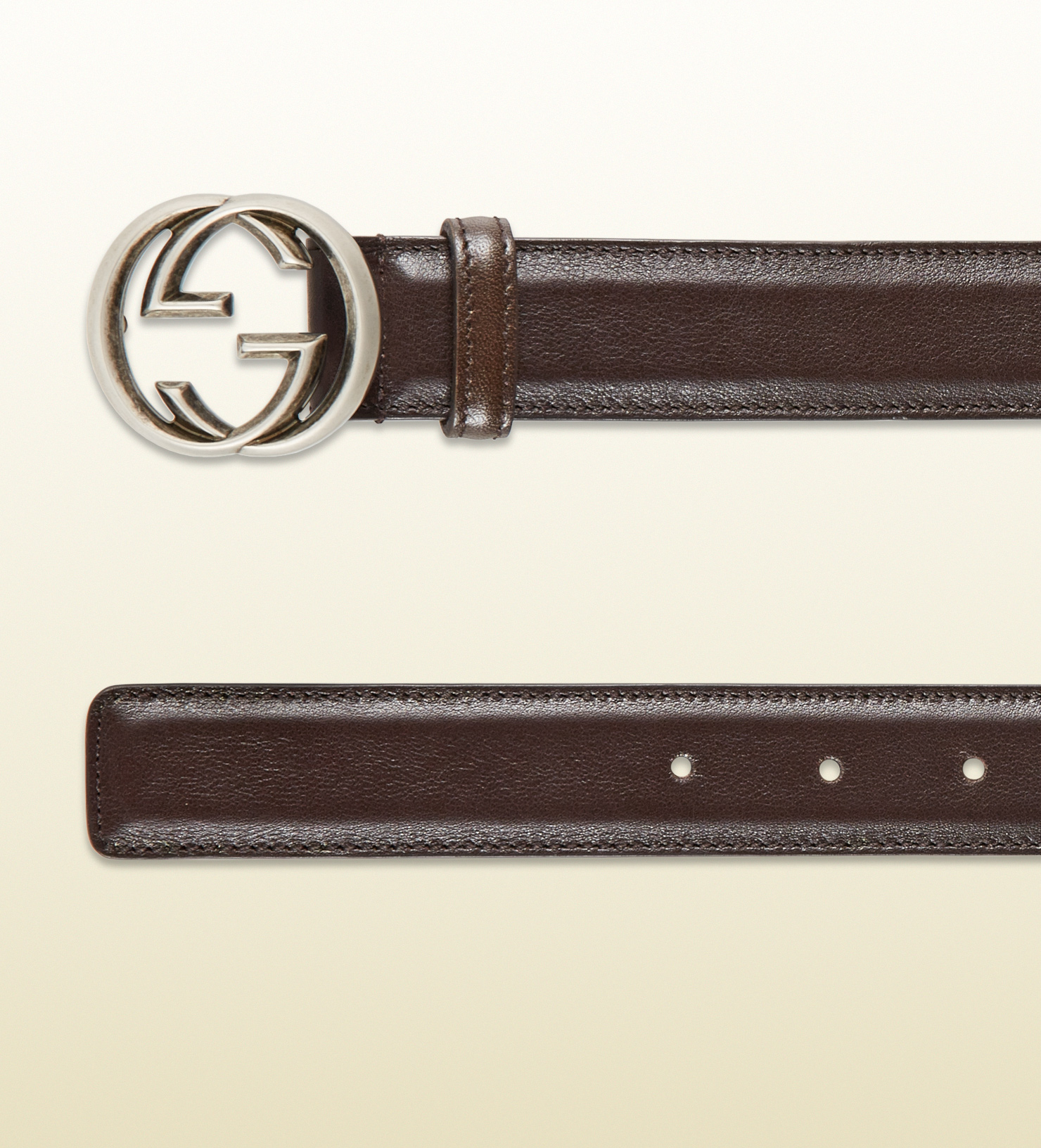 Lyst - Gucci Leather Belt With Interlocking G Buckle in ...