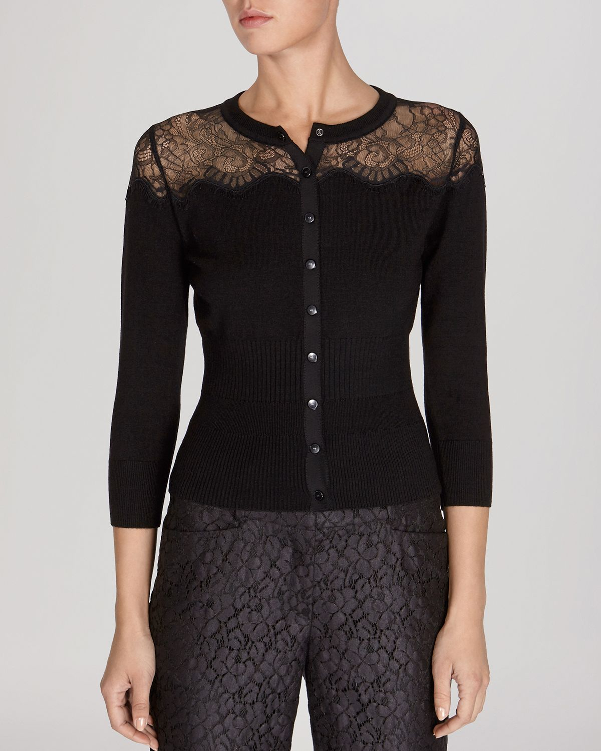 Karen millen Cardigan - Sheer Lace Yoke Knit Collection in Black ...