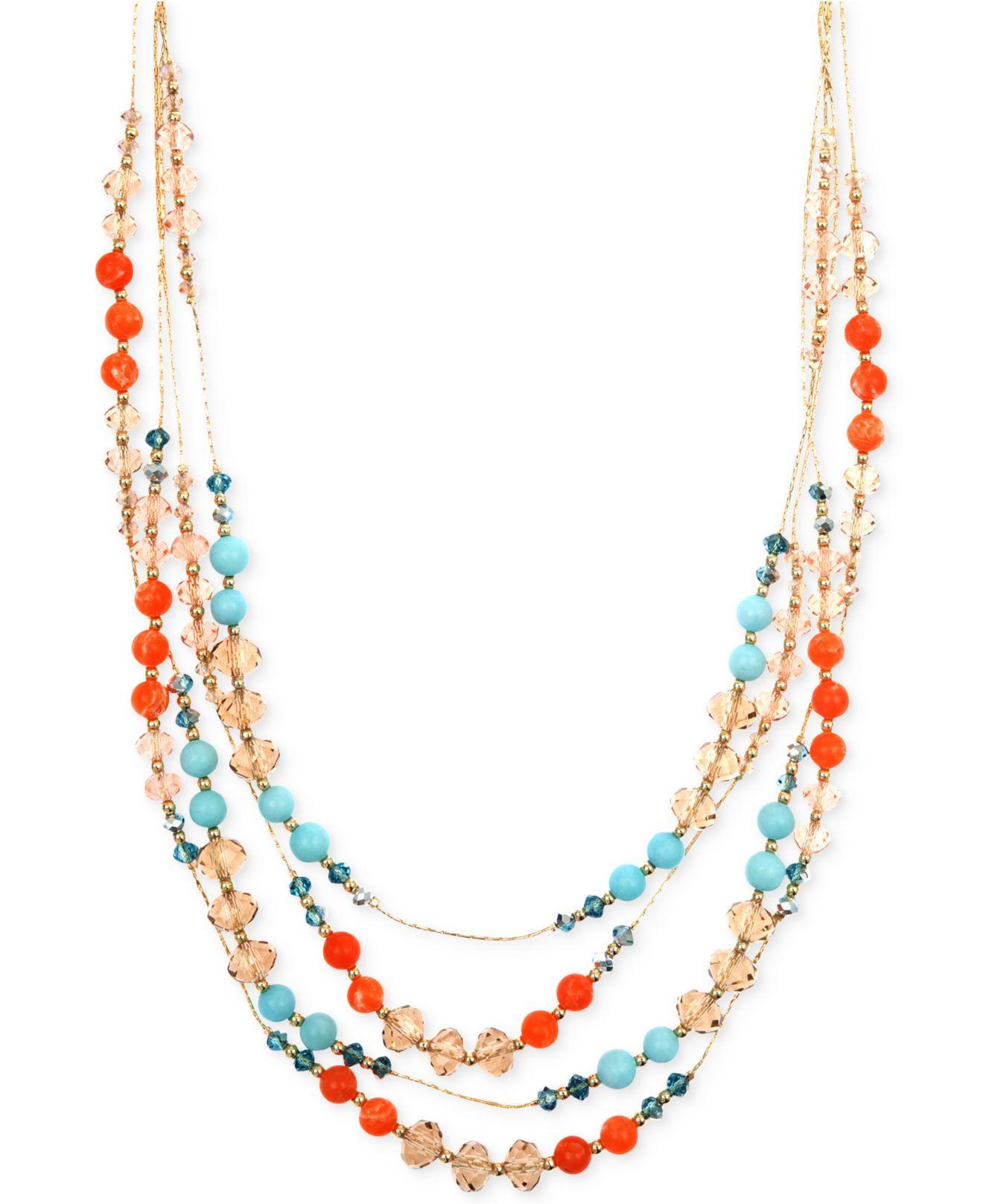 jones new york gold tone mixed bead multi row necklace lyst. Black Bedroom Furniture Sets. Home Design Ideas