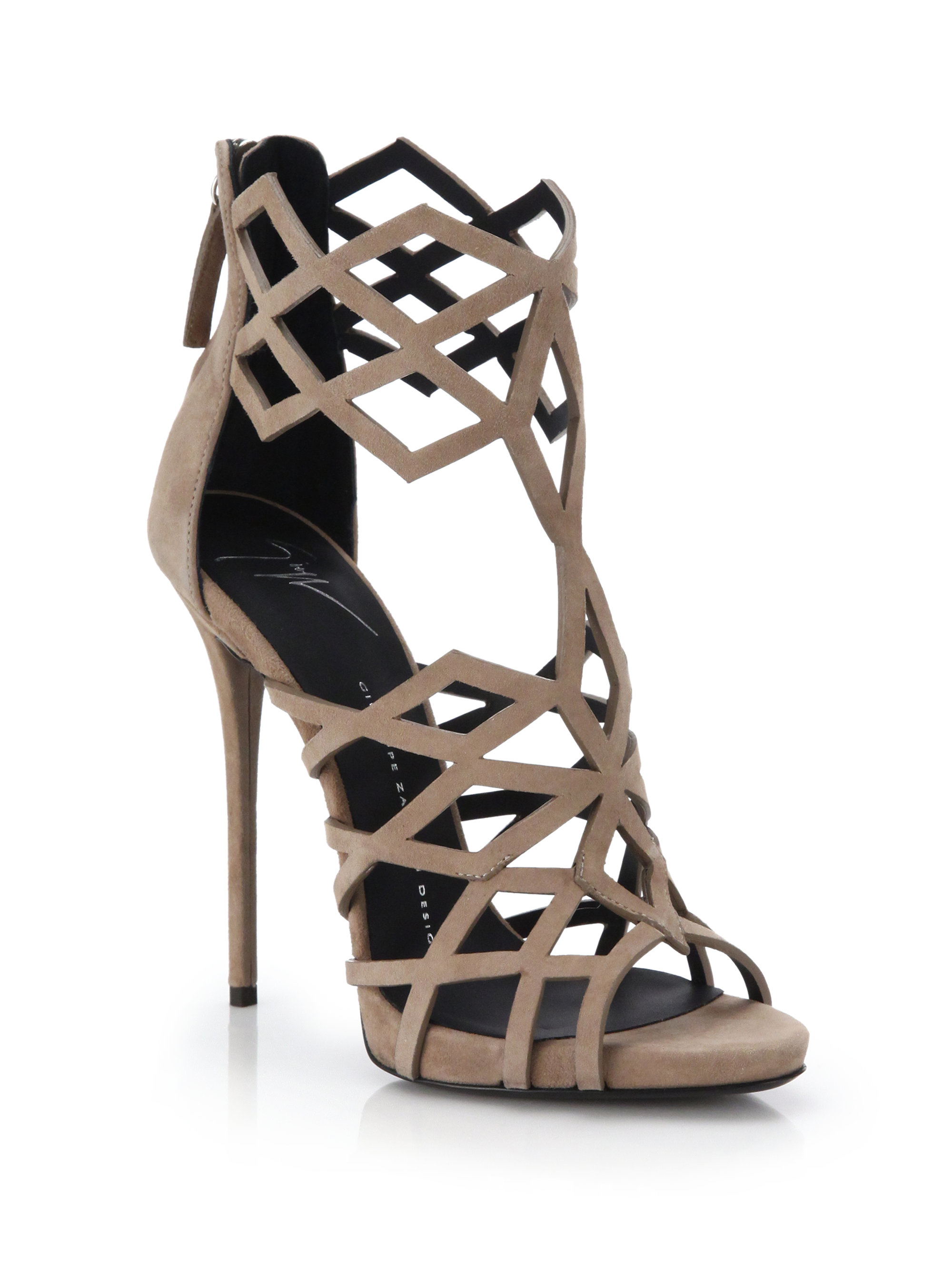 Giuseppe Zanotti Suede Caged Sandals cheap classic cheap sale eastbay free shipping excellent ohna1XYzL