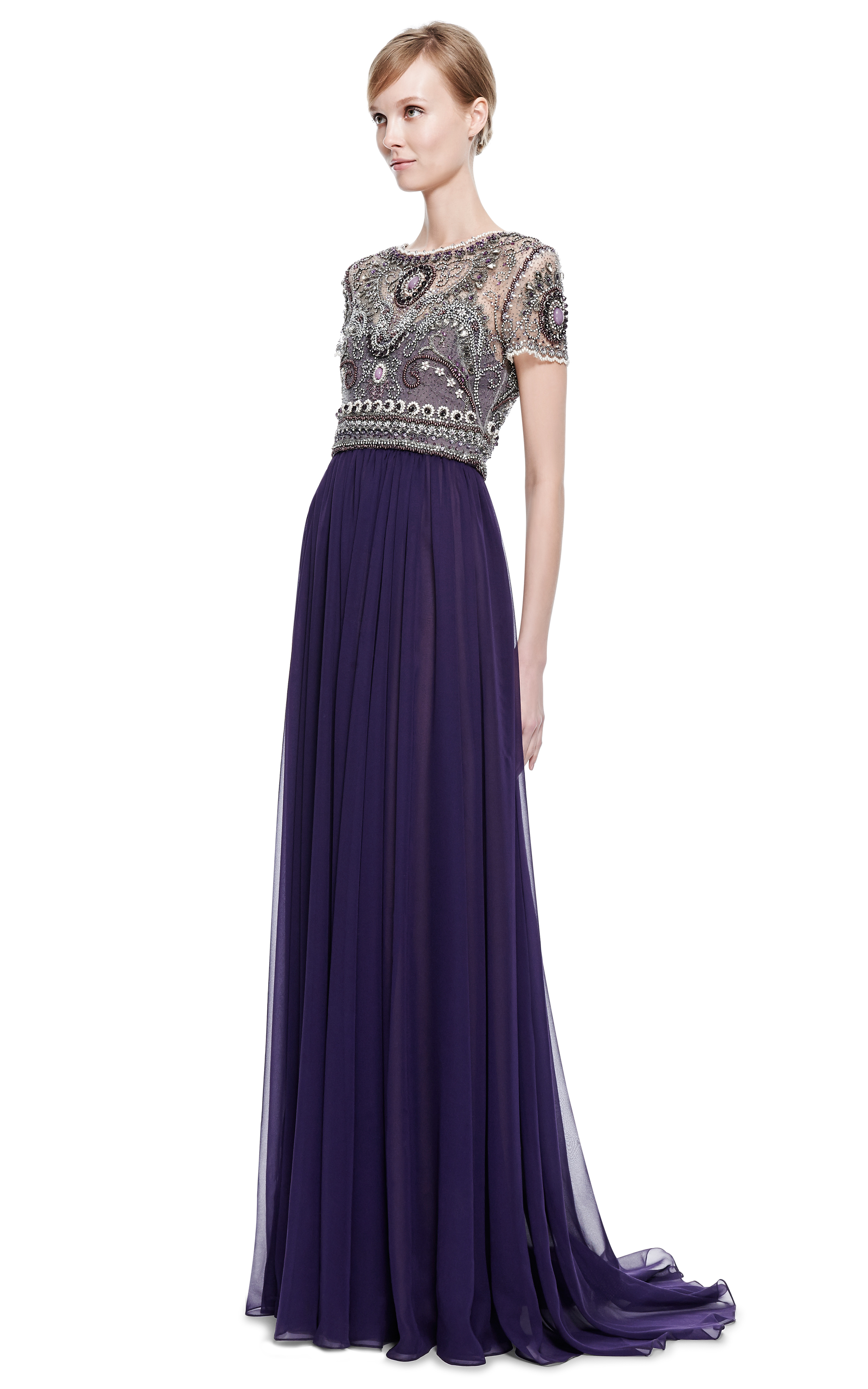 Lyst - Marchesa Short Sleeve Gown with Fully Embroidered Bodice in ...