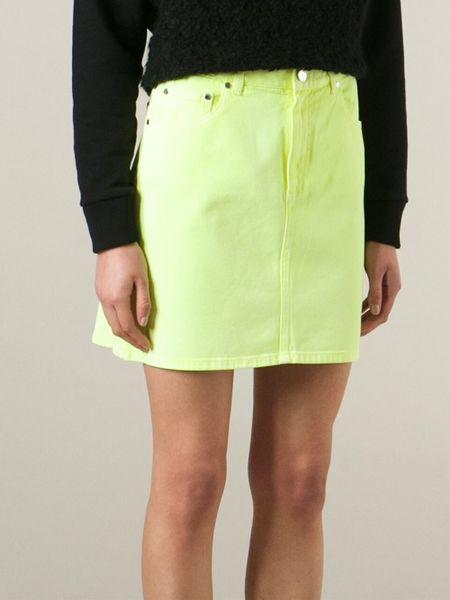 christopher denim mini skirt in yellow yellow