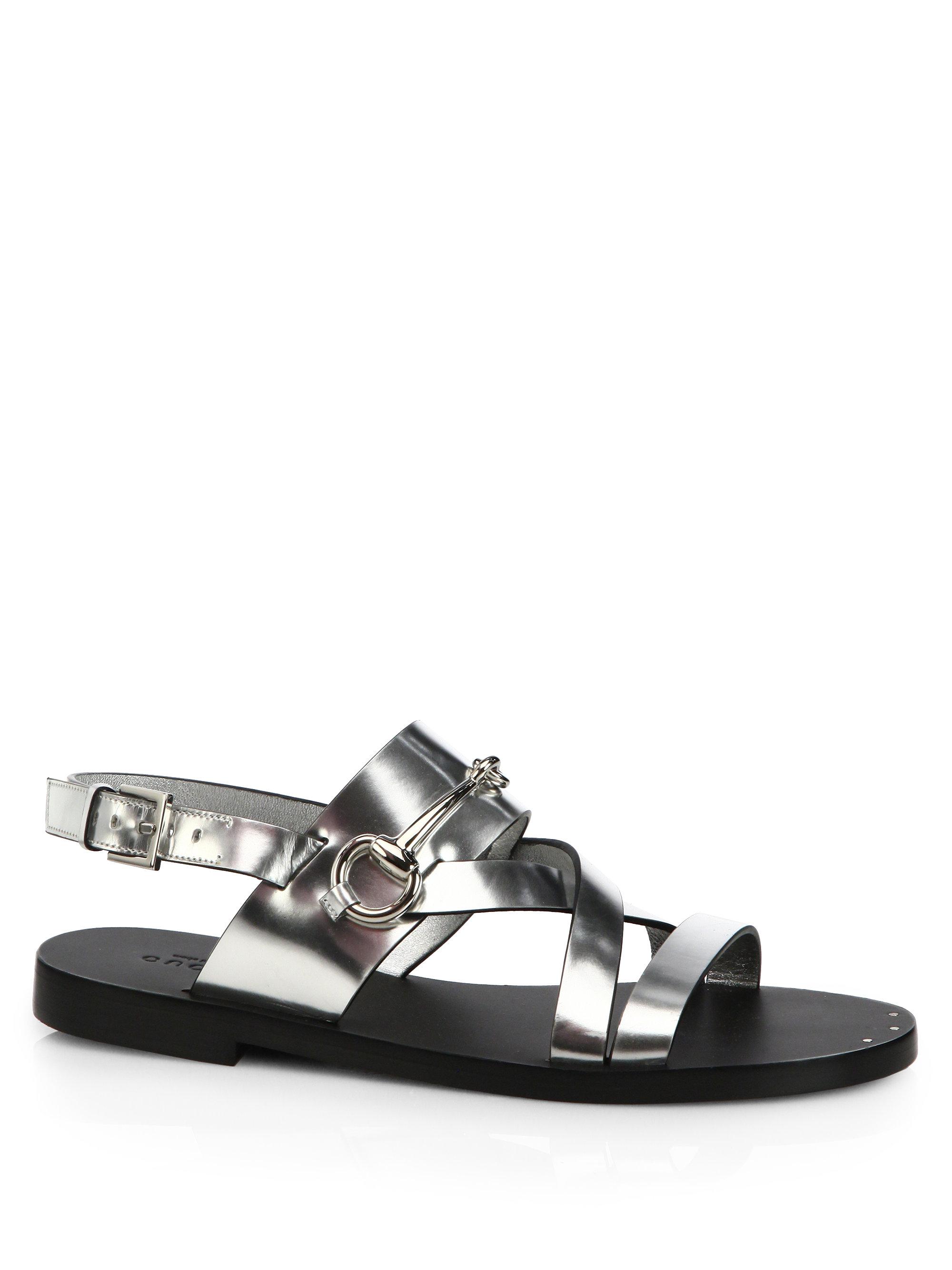 edf5e5890a20 Lyst - Gucci Juliette Strappy Flat Sandals in Metallic