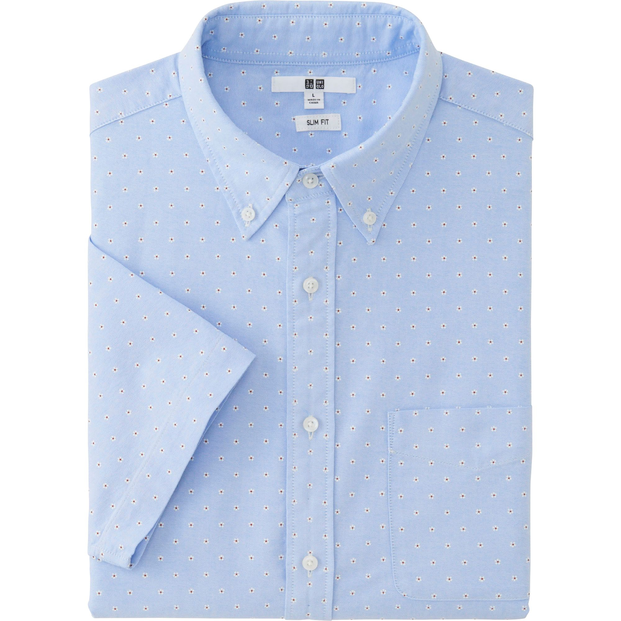 Uniqlo men 39 s oxford slim fit short sleeve printed shirt in for T shirt printing oxford