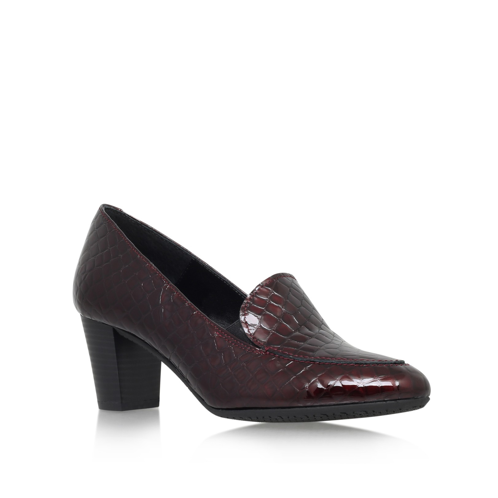 Wine Red Court Shoes With Block Heel
