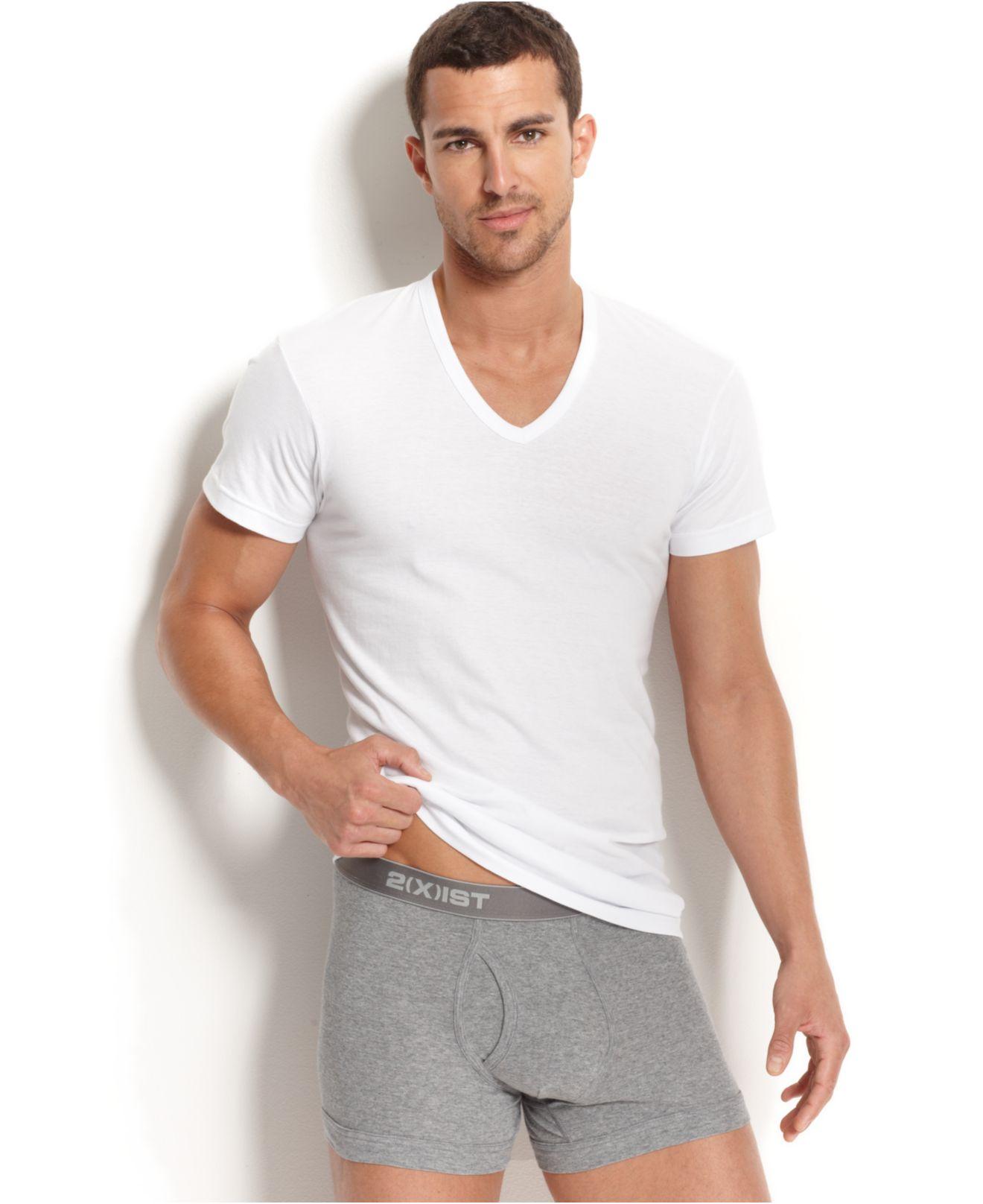 2xist Essential Range Slim Fit Deep V Neck T Shirt 3 Pack