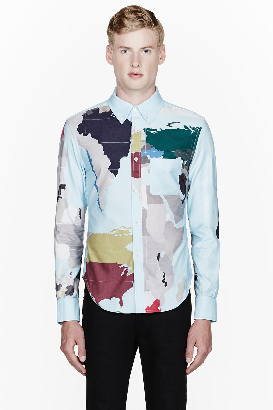 Lyst band of outsiders sky blue world map dress shirt in blue for men gallery gumiabroncs Gallery
