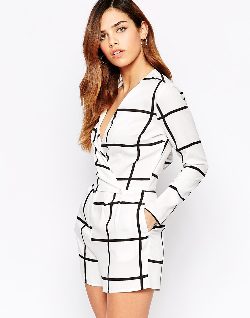9371a25a0ace Lyst - ASOS Woven Playsuit In Oversized Check in White