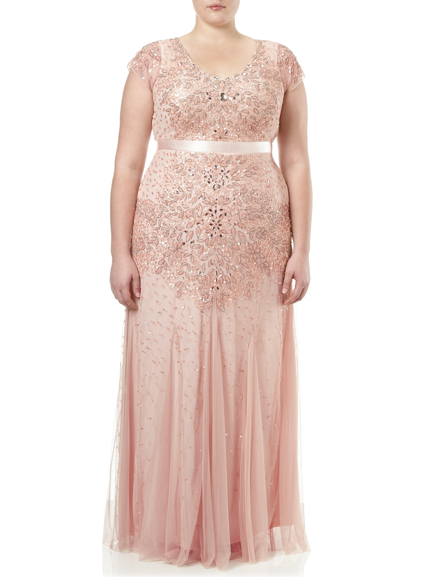 Adrianna Papell Plus Size Long Beaded Dress in Pink - Lyst