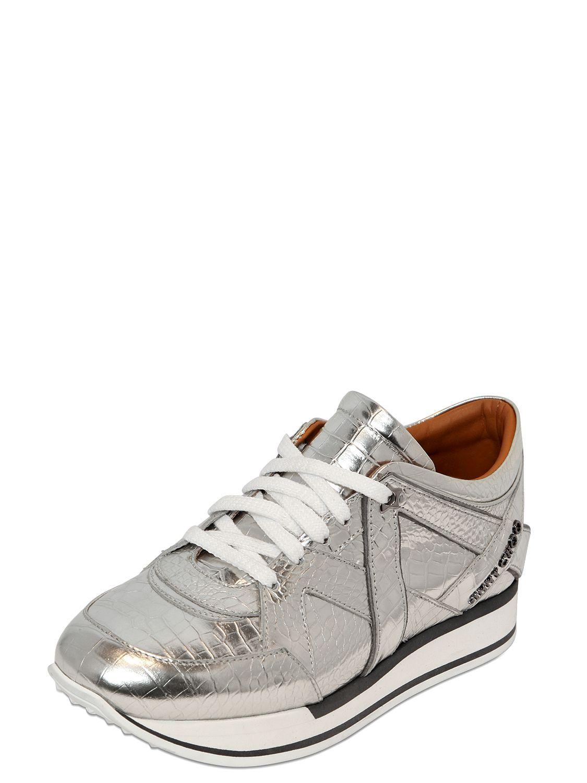 4961aa4fee8 Lyst - Jimmy Choo London Croc Embossed Leather Sneakers in Metallic