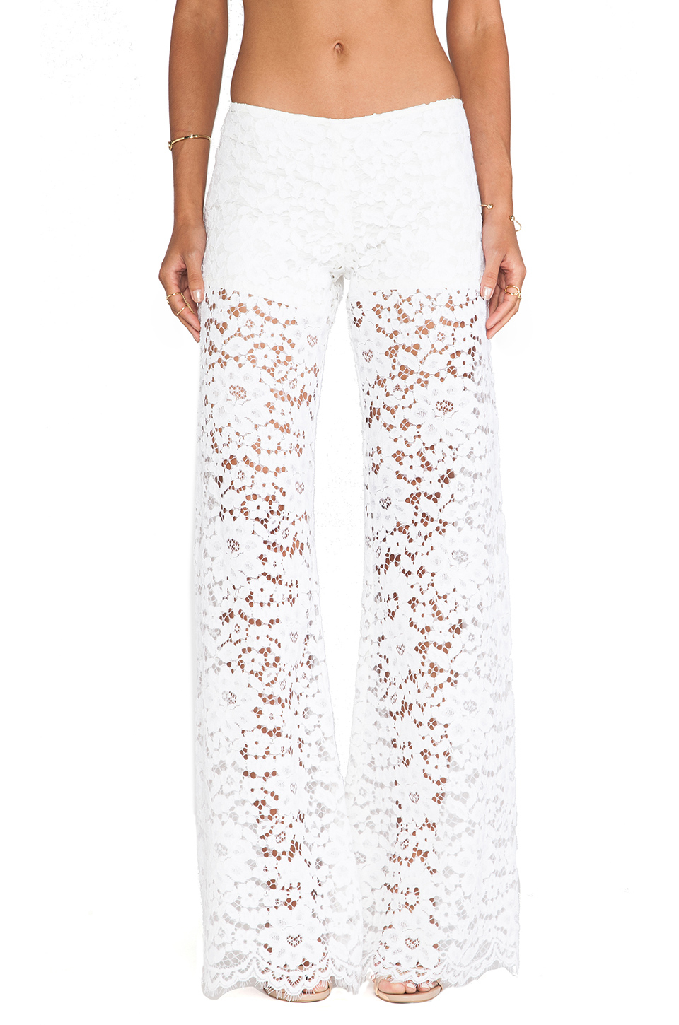 Alexis Madrid Wide Leg Lace Pants in White | Lyst