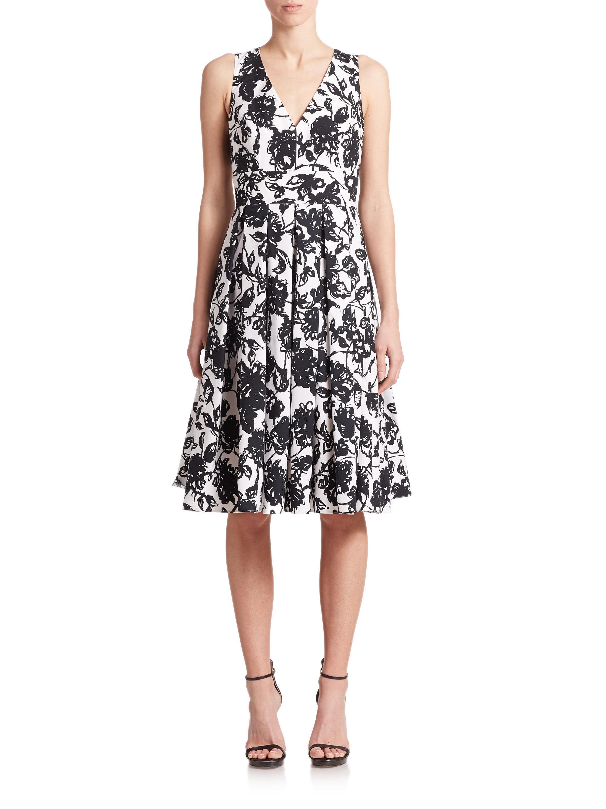 Michael Kors Cotton Floral Print Bell Skirt Midi Dress In