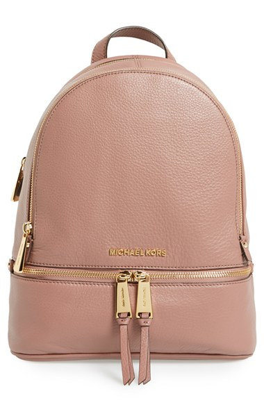 ... new zealand lyst michael michael kors small rhea zip leather backpack  in pink d2e38 67d13 1a2dfddd4d