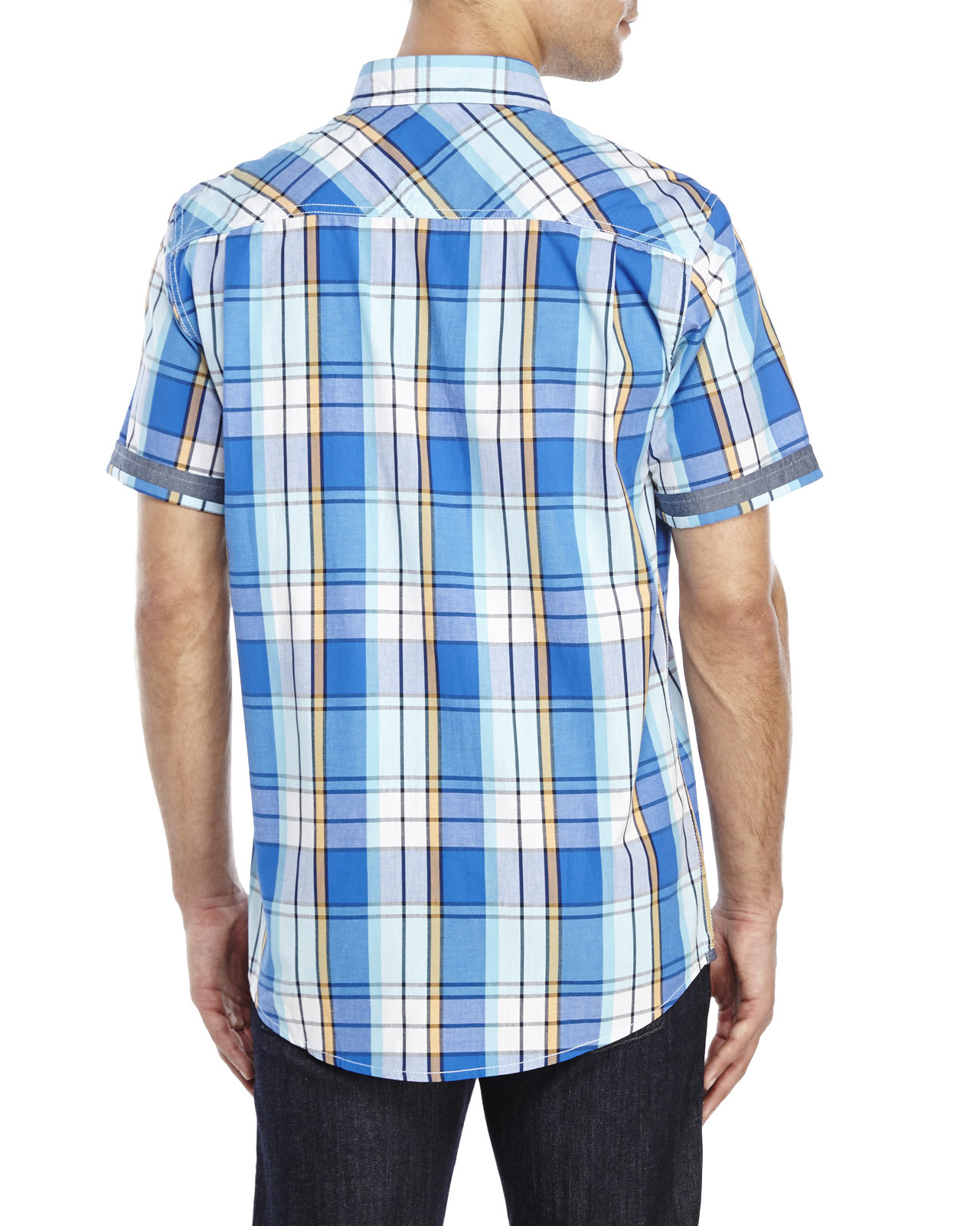 Weatherproof two pocket plaid woven shirt in blue for men for Blue and yellow plaid dress shirt