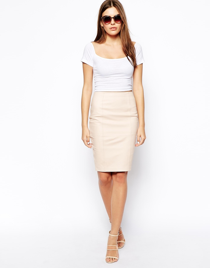 Asos Leather Pencil Skirt in Pink | Lyst