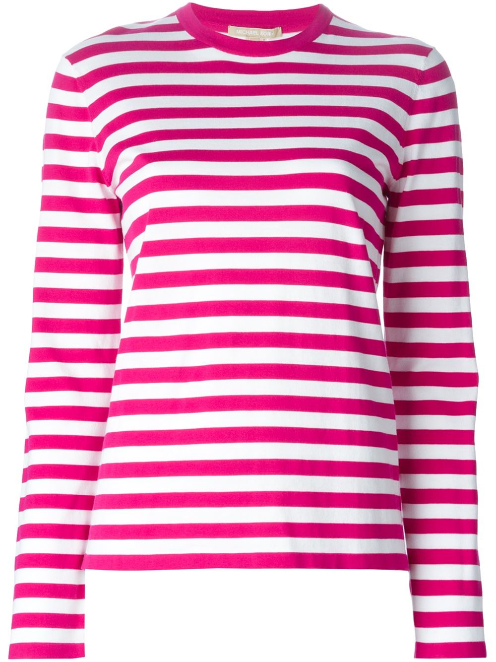 Michael kors striped t shirt in pink pink purple lyst for Purple and black striped t shirt