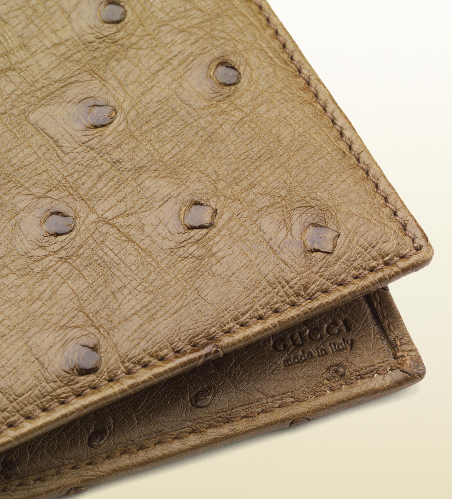 be89d353 Men's Green Ostrich Bi-fold Wallet