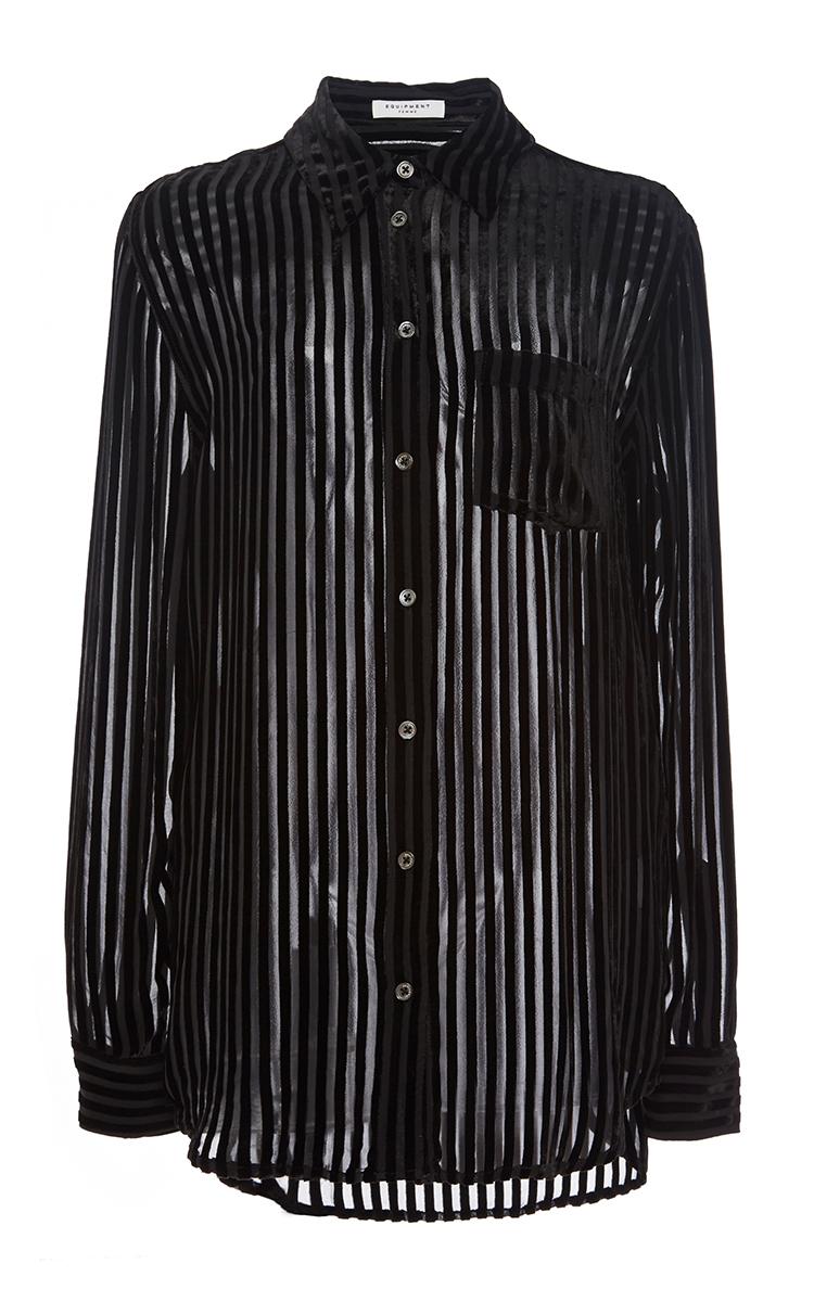 Equipment black silk blend reese striped shirt in black lyst for Equipment black silk shirt