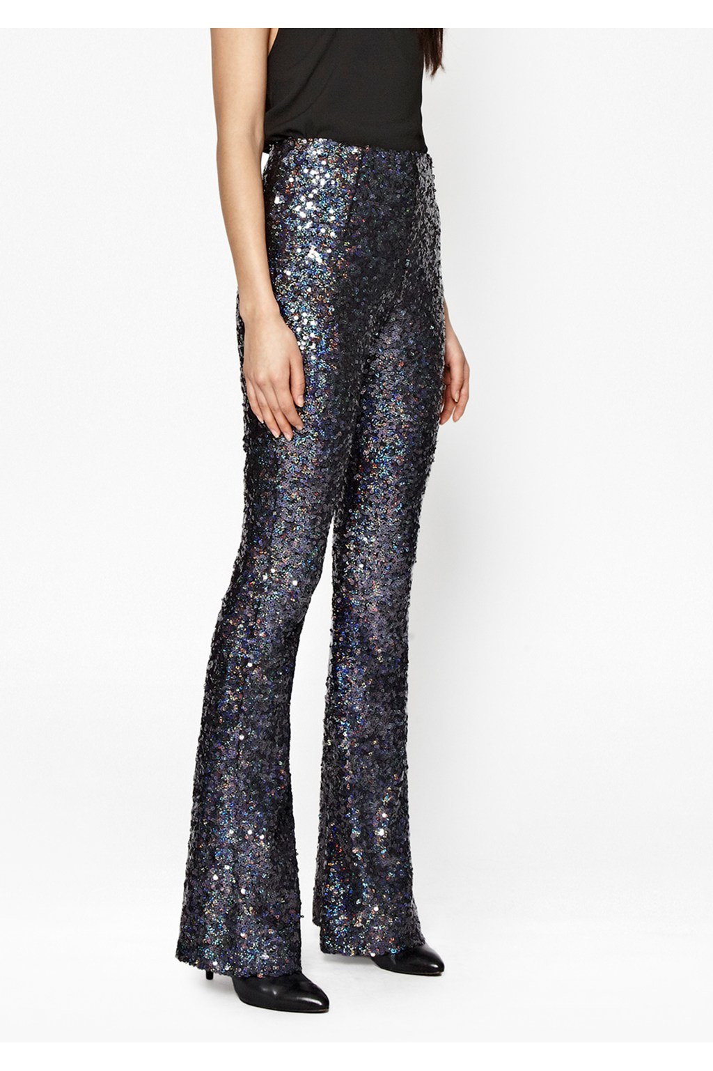French Connection Synthetic Lunar Sparkle Sequin Flares In