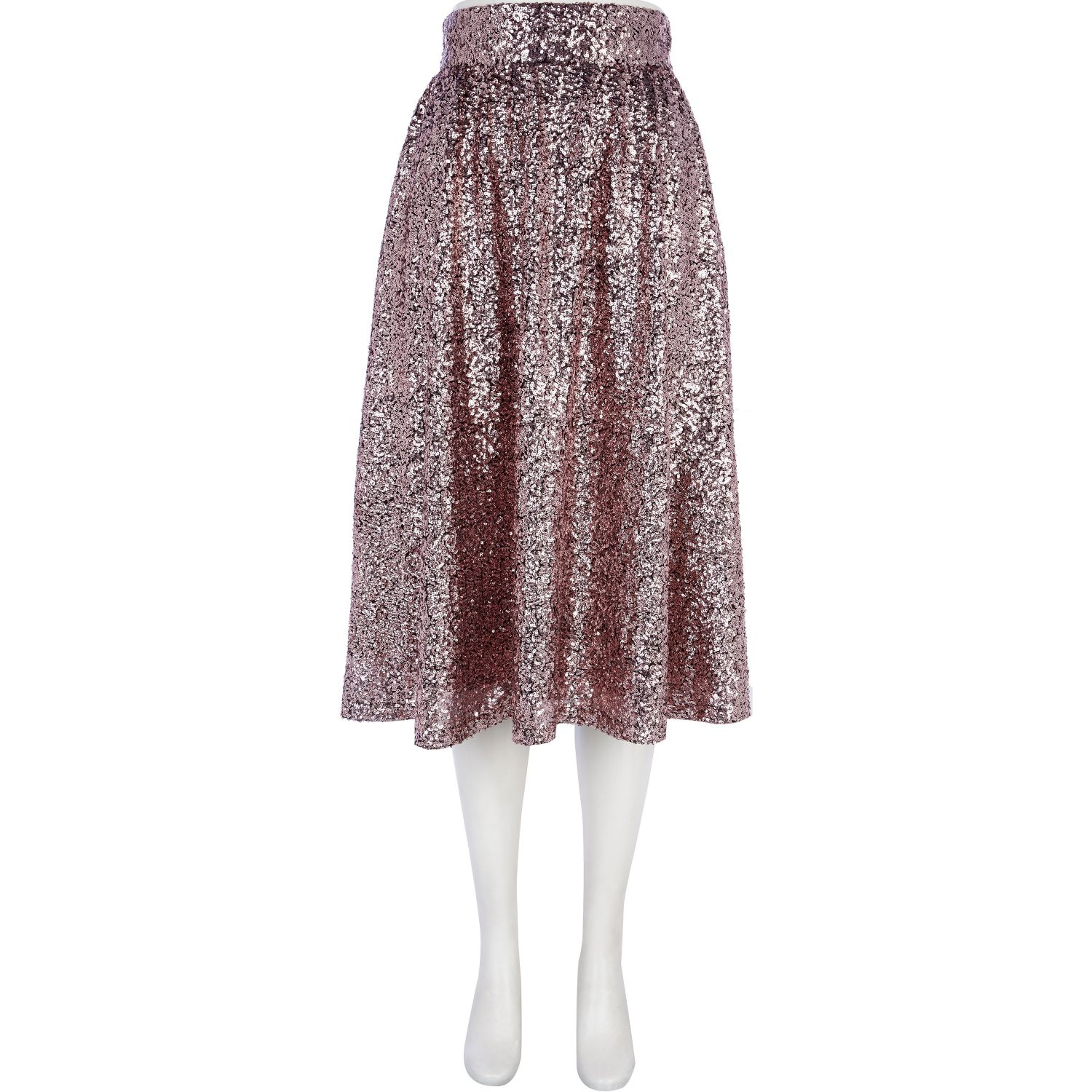 river island pink sequin midi skirt in silver pink lyst