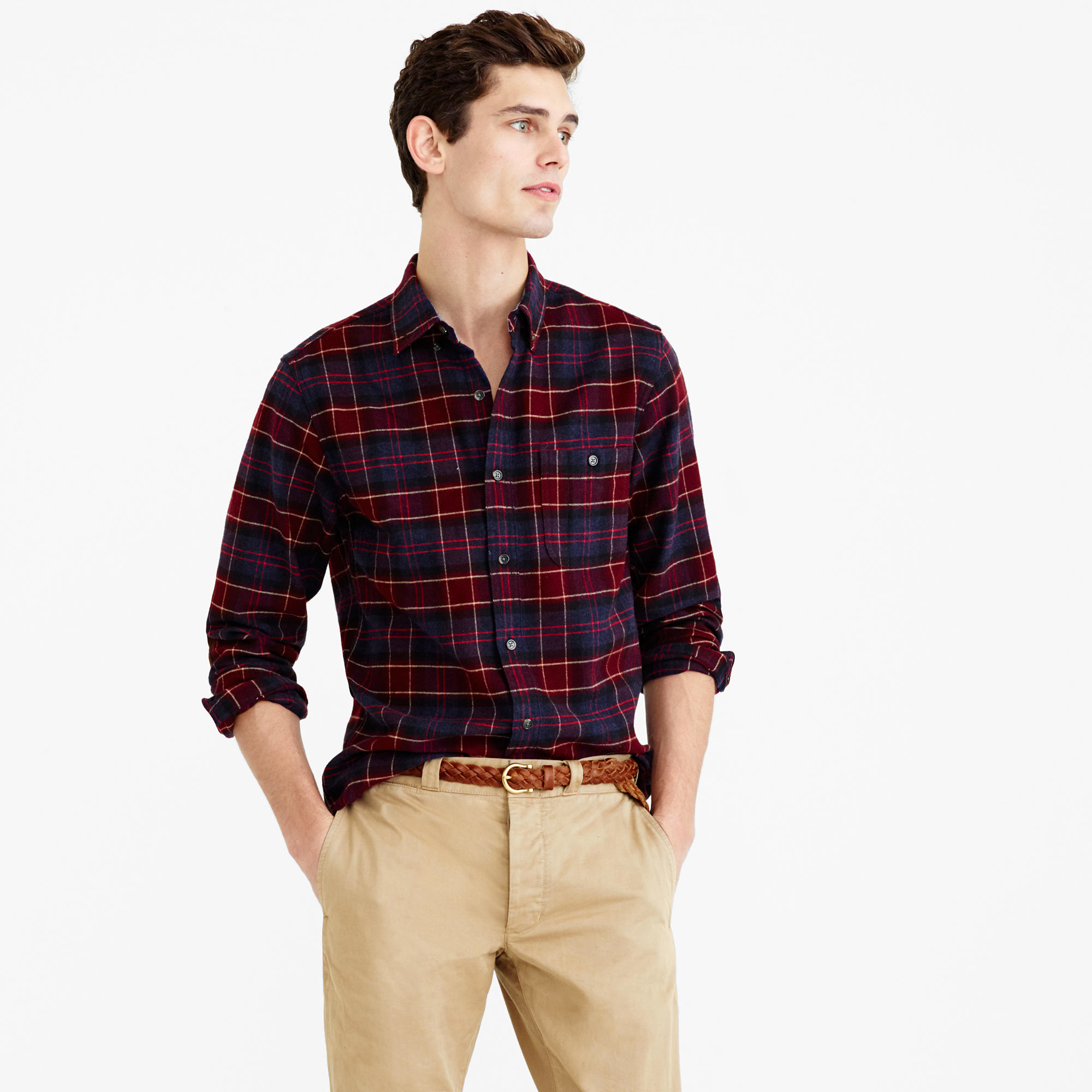 Cotton Wool Elbow Patch Shirt In Hayes Plaid In Red