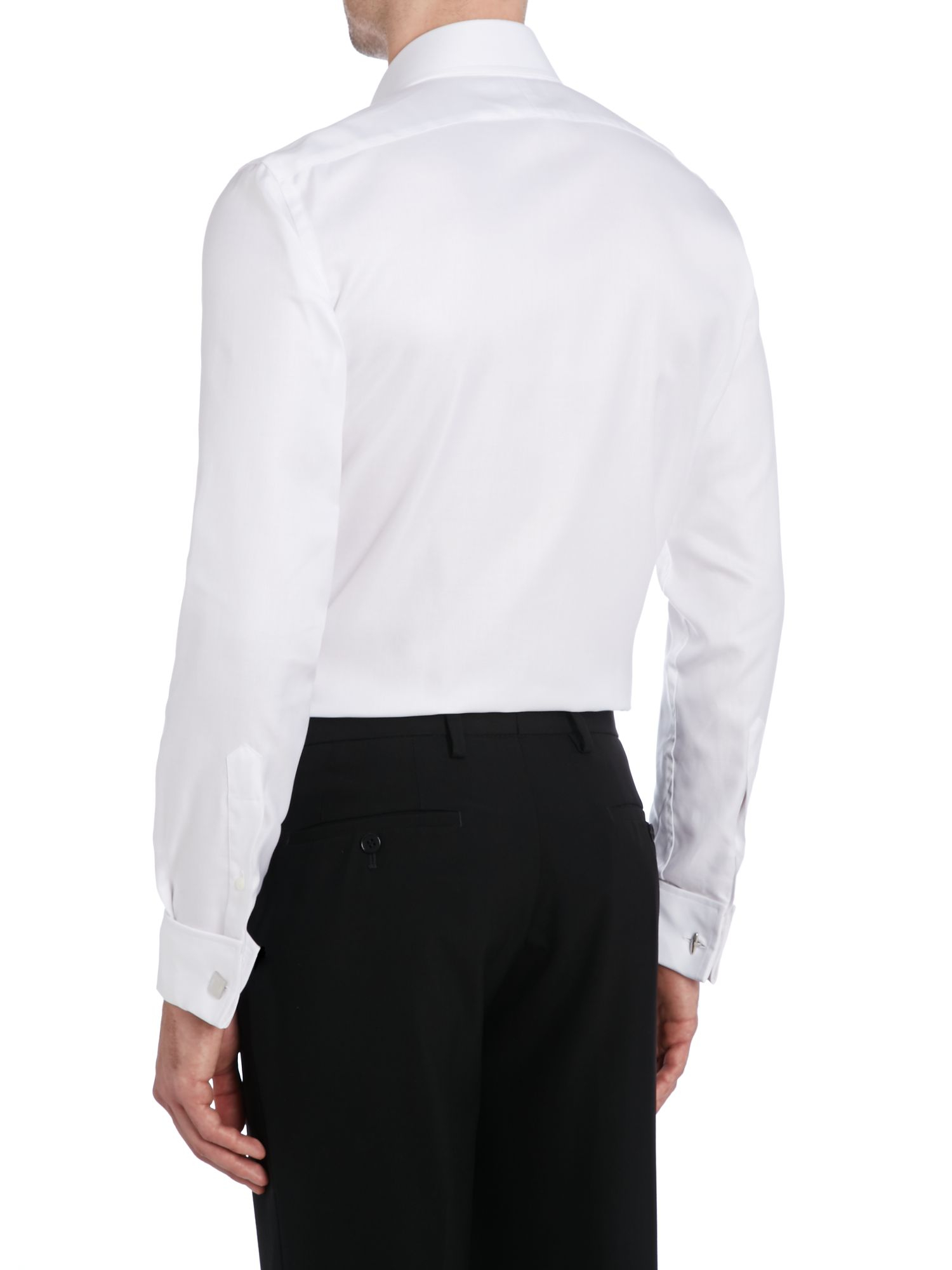 Tm lewin luxury twill fitted shirt in white for men lyst for Tailored fit shirts meaning