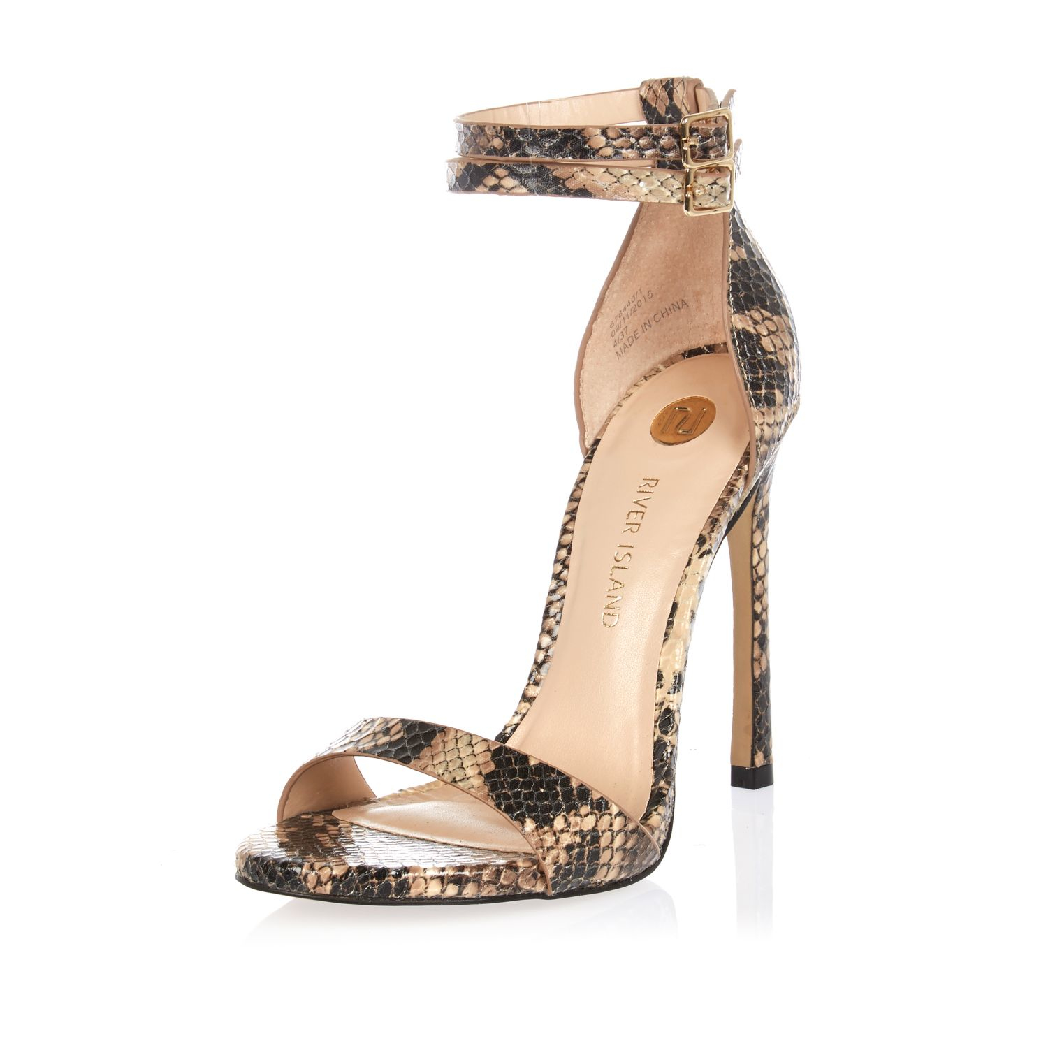 3f628e5d93a8d8 Lyst river island beige snake print barely there heeled sandals jpg  1500x1500 Snake print shoes for