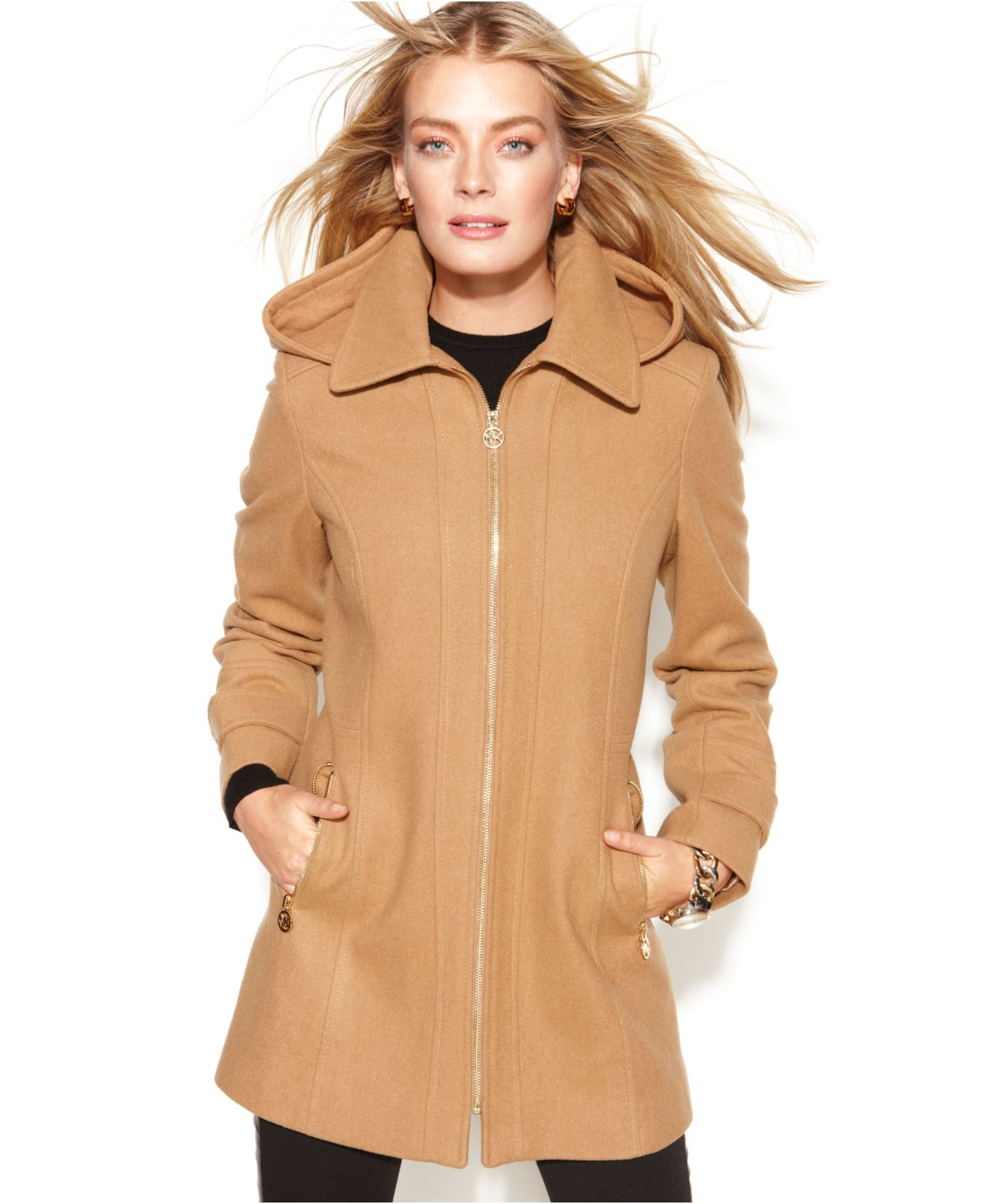 Michael kors Michael Petite Hooded Zip-Front Wool-Blend Coat in ...