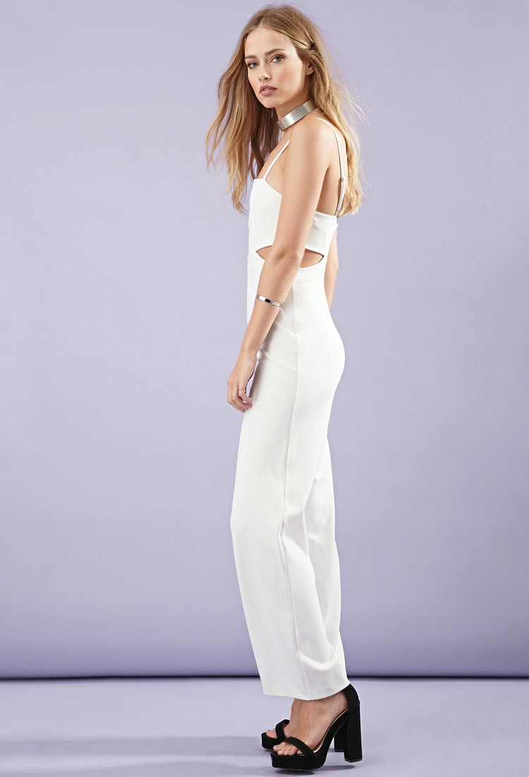 Forever 21 Cutout-side Cami Jumpsuit in White - Lyst