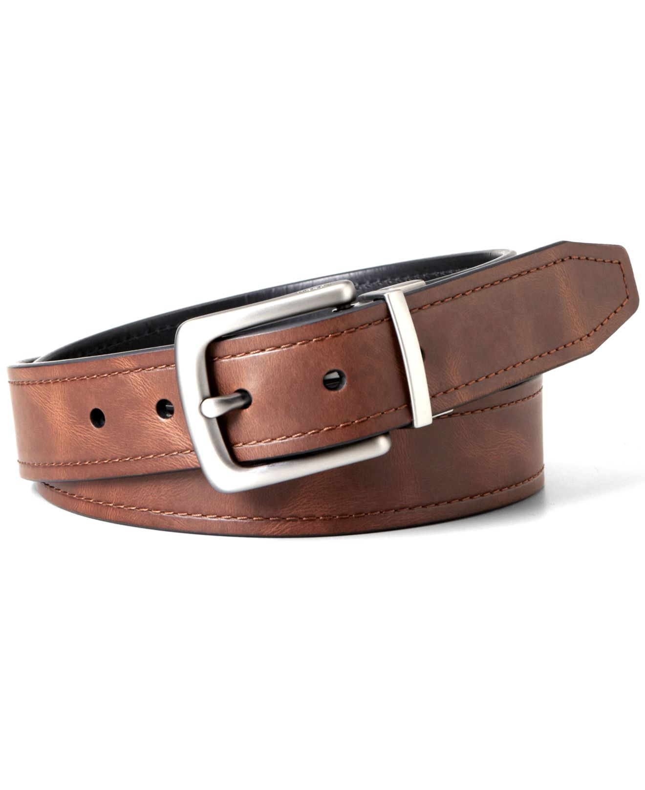 fossil reversible leather belt in brown for