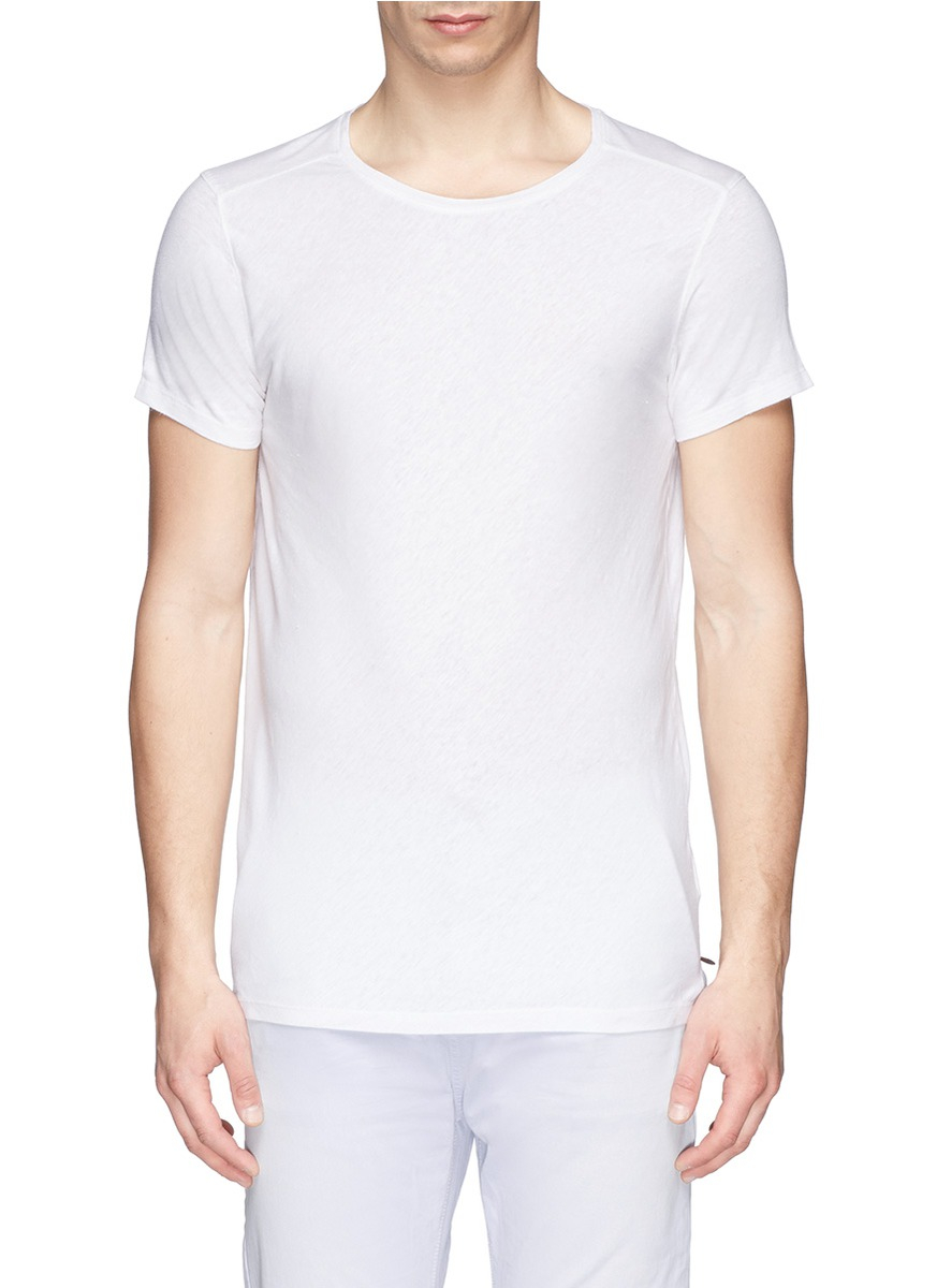 Scotch soda slub linen blend t shirt in white for men lyst for What is a slub shirt