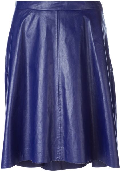 msgm faux leather skirt in blue lyst
