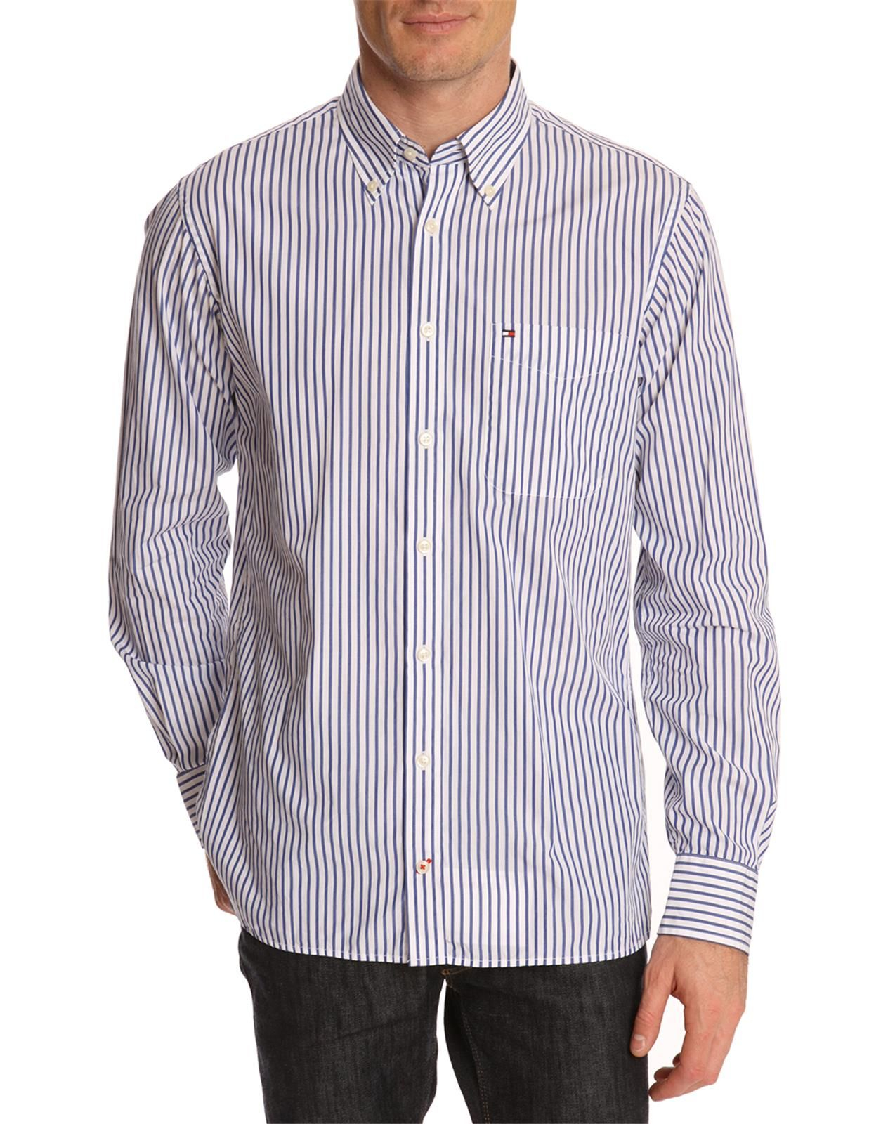 Tommy hilfiger nate blue and white striped shirt in blue for Tommy hilfiger fitzgerald striped shirt
