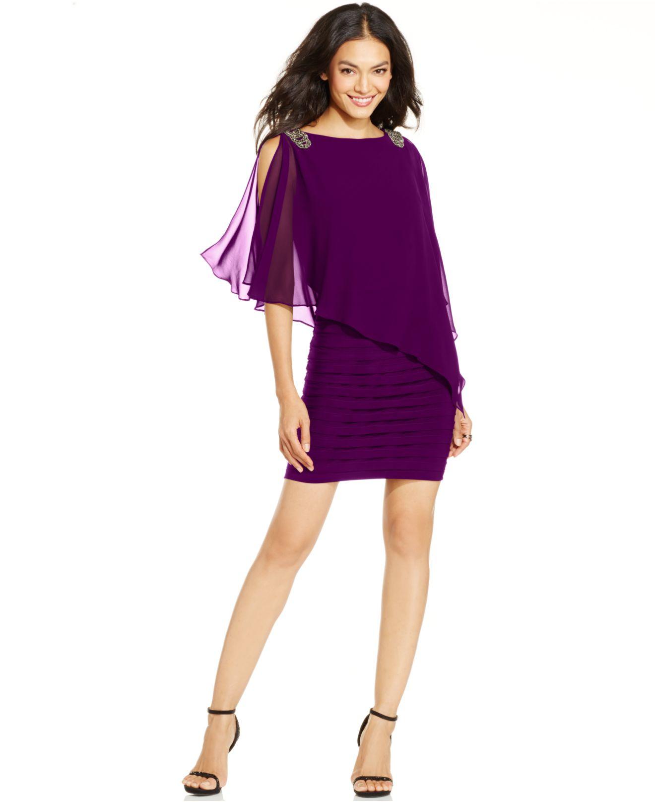 Lyst Xscape Petite Embellished Caplet Sheath Dress In Purple
