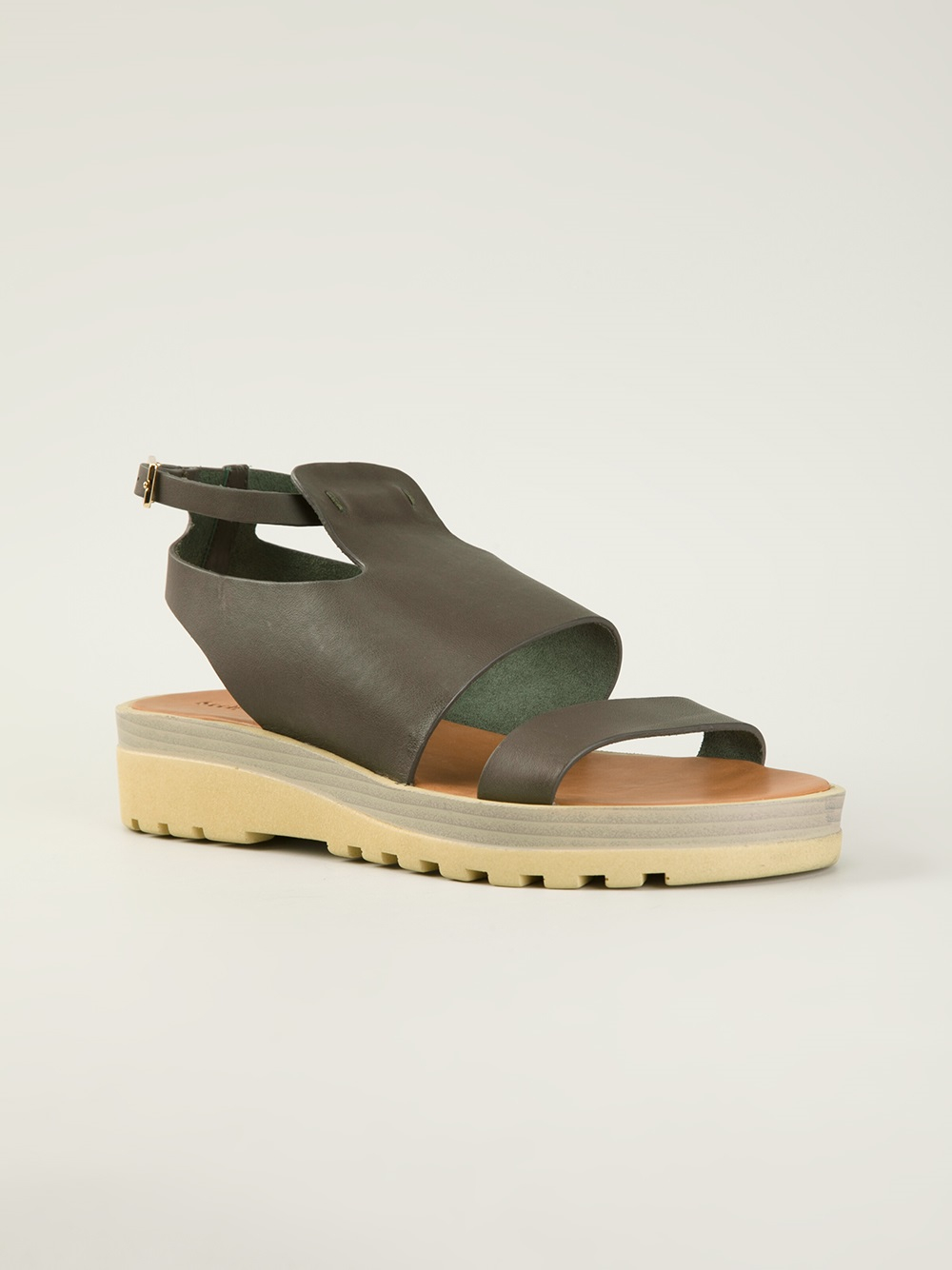see by chlo chunky sole flat sandals in gray lyst. Black Bedroom Furniture Sets. Home Design Ideas