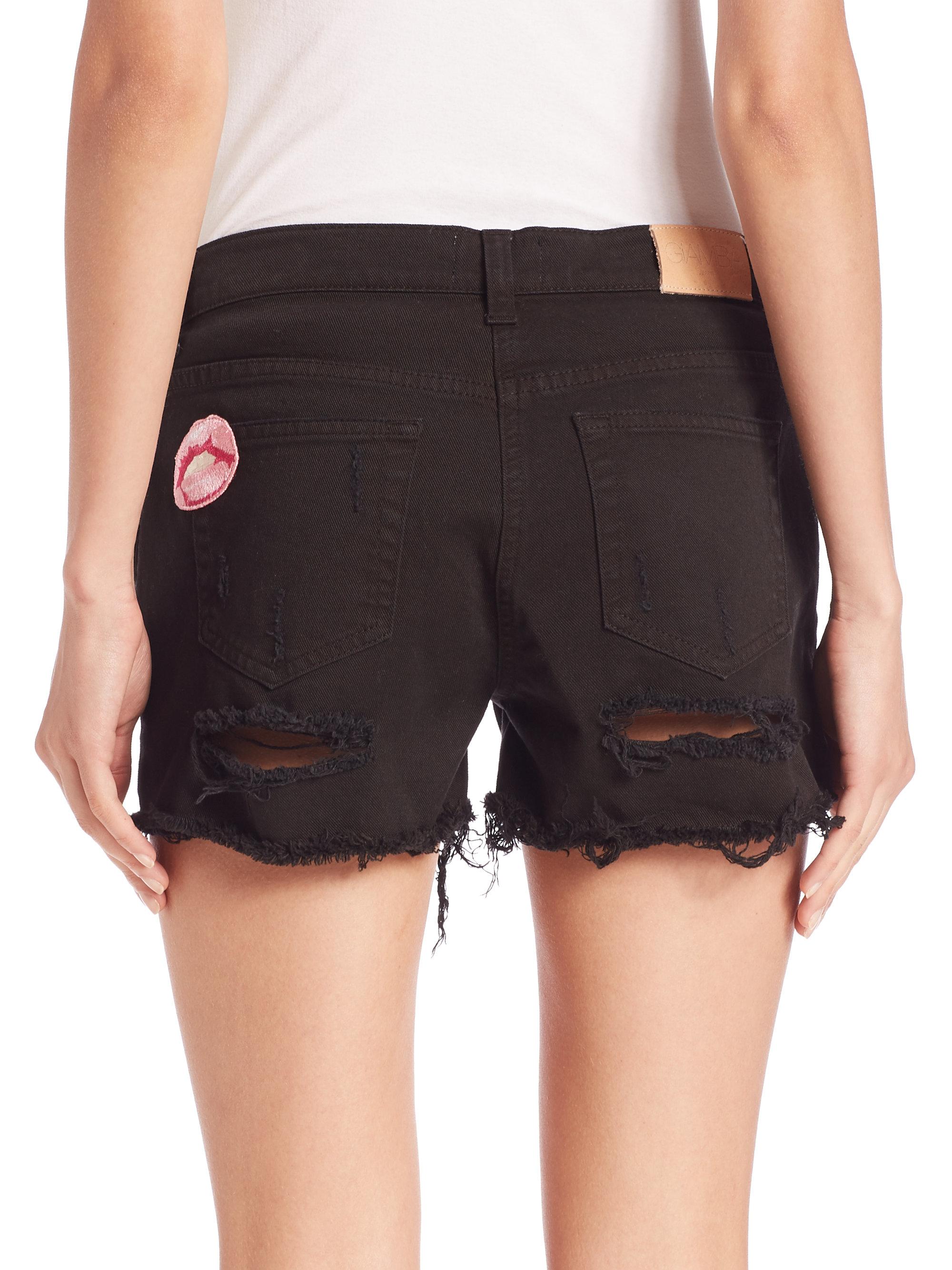 Giamba Distressed Applique Denim Shorts in Black | Lyst