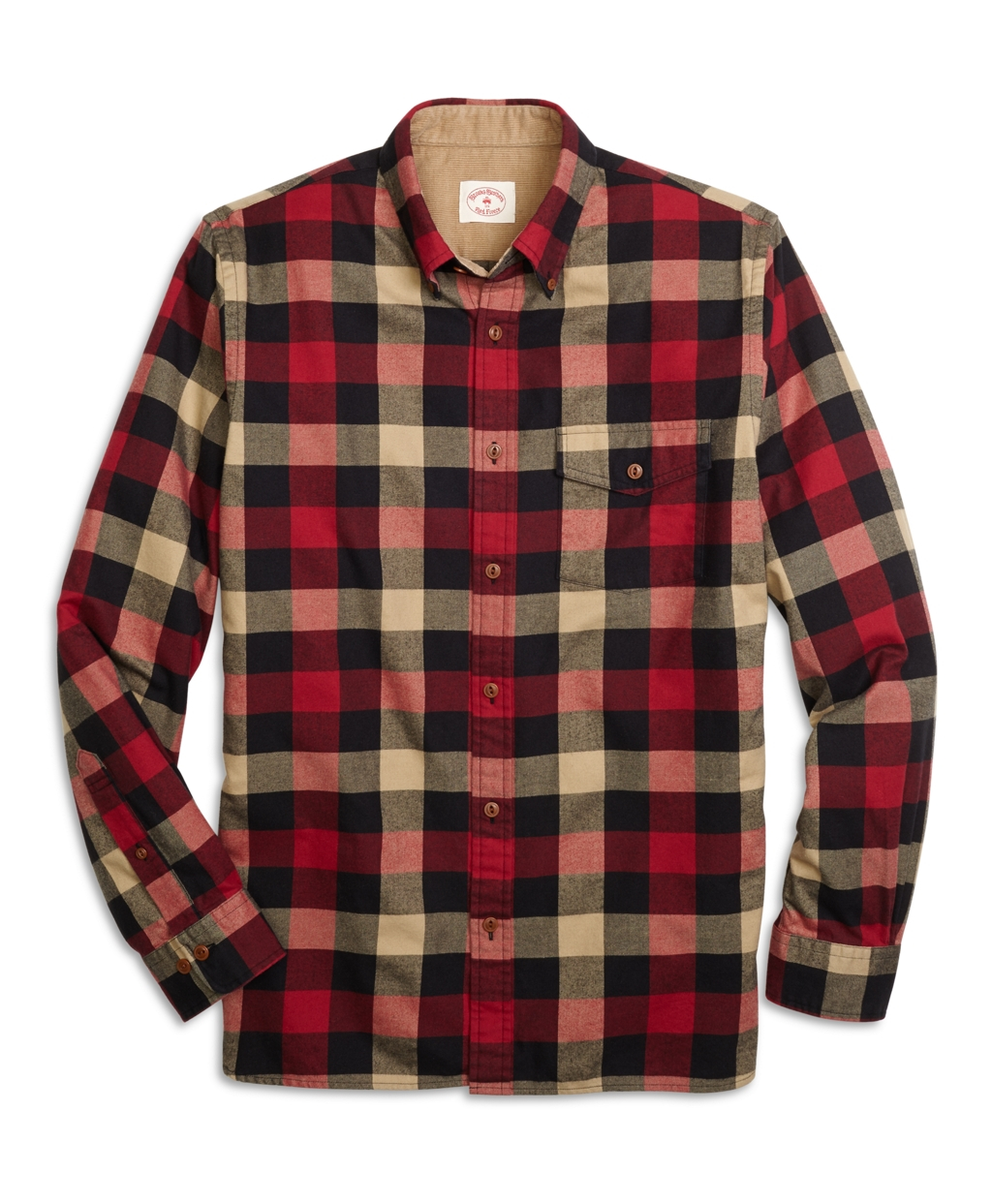 Brooks brothers buffalo check flannel sport shirt for men for Red buffalo flannel shirt