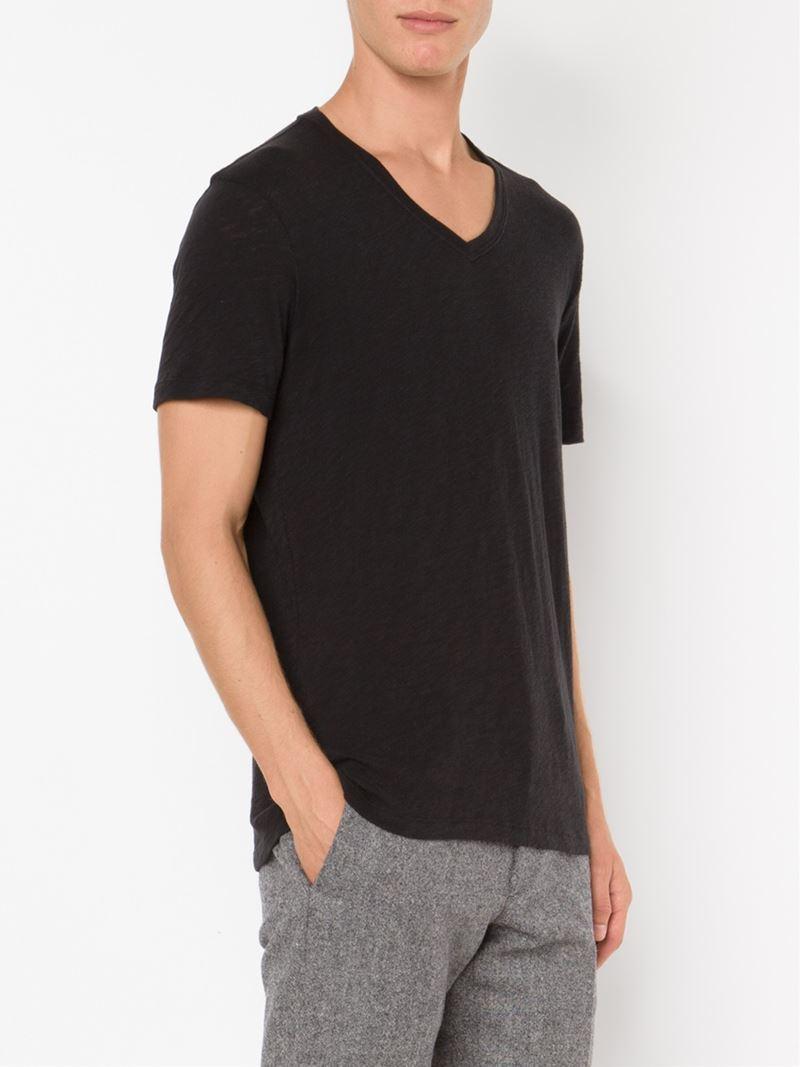 Atm v neck t shirt in black for men lyst for Atm t shirt sale