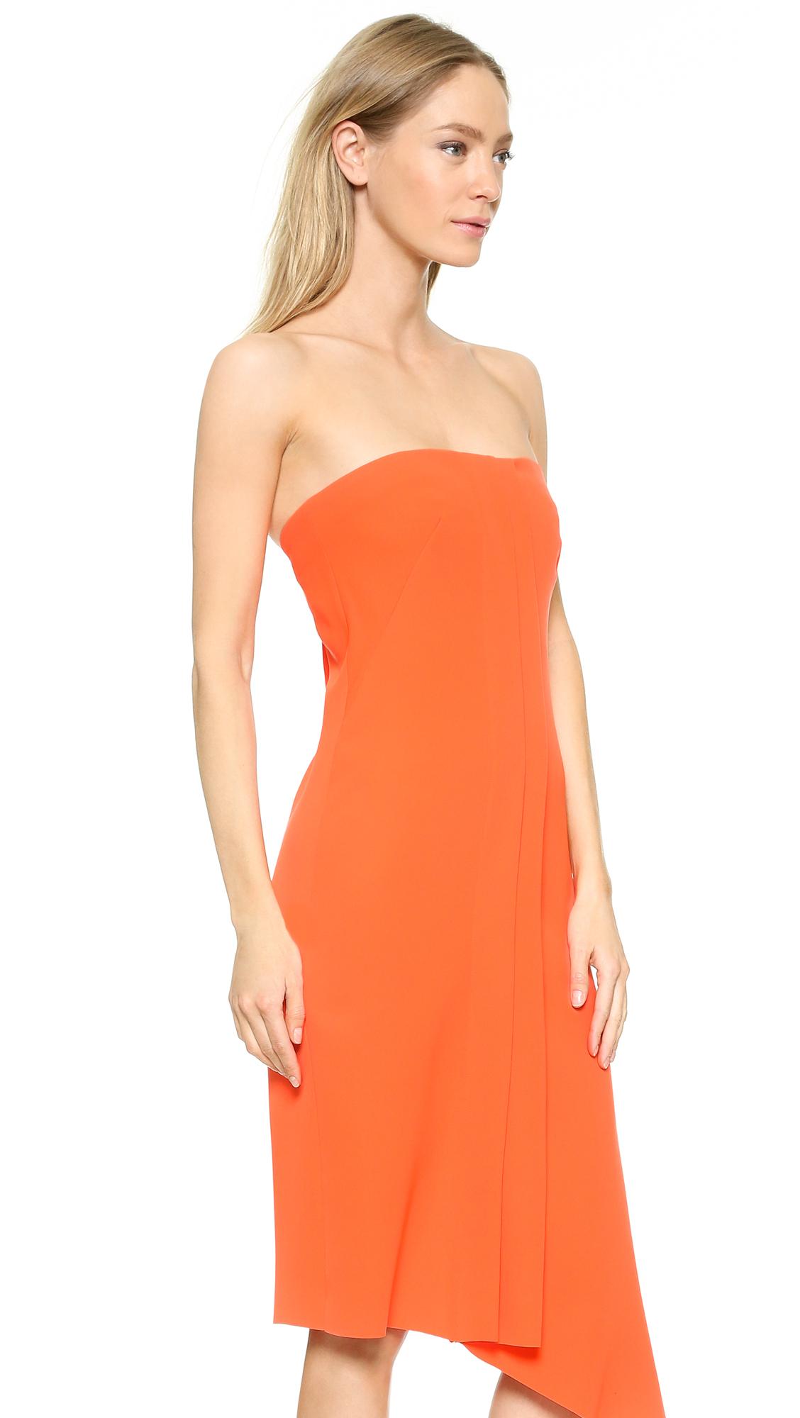 Cedric charlier Strapless Dress in Orange | Lyst