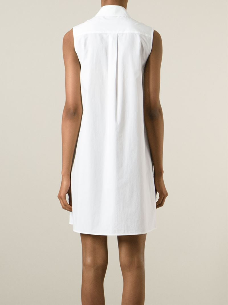 Mcq eyelet and stud shirt dress in white lyst for Dress shirt studs uk