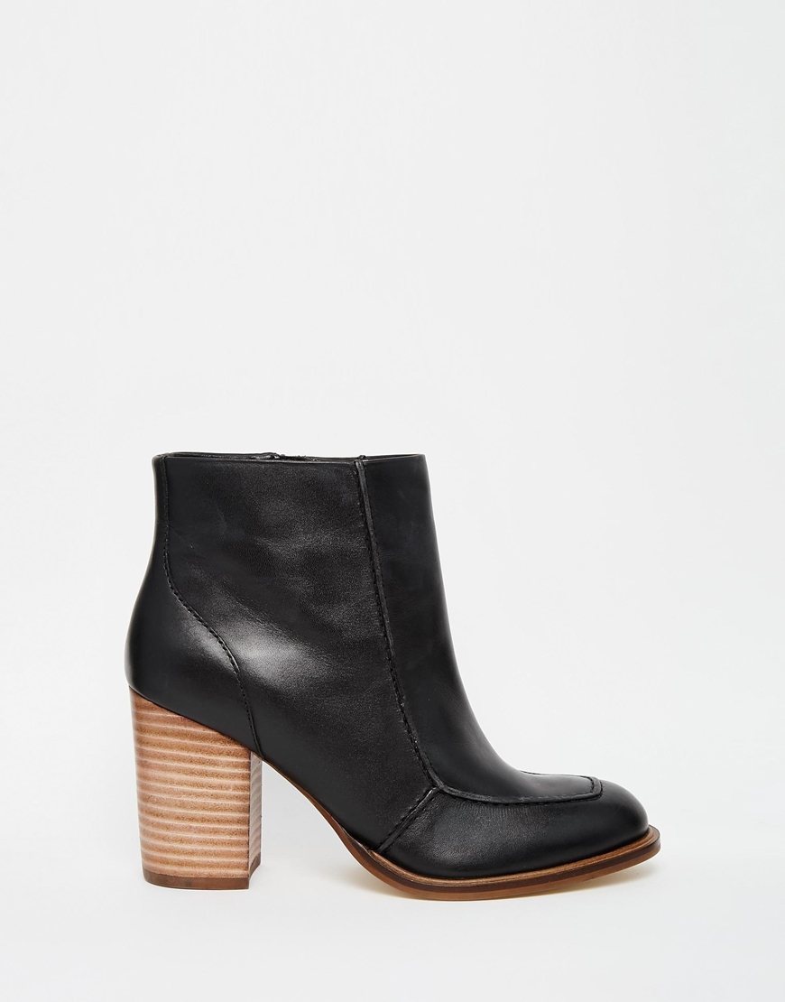 asos earthy leather ankle boots in black lyst