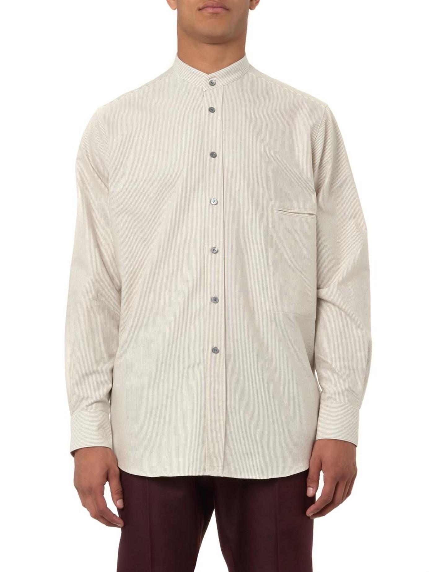 Lemaire grandad collar striped cotton shirt in white for Mens grandad collar shirt