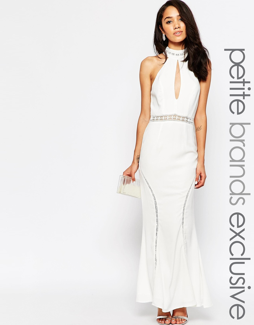 Jarlo Halter Neck Maxi Dress With Front Keyhole Detail in White | Lyst