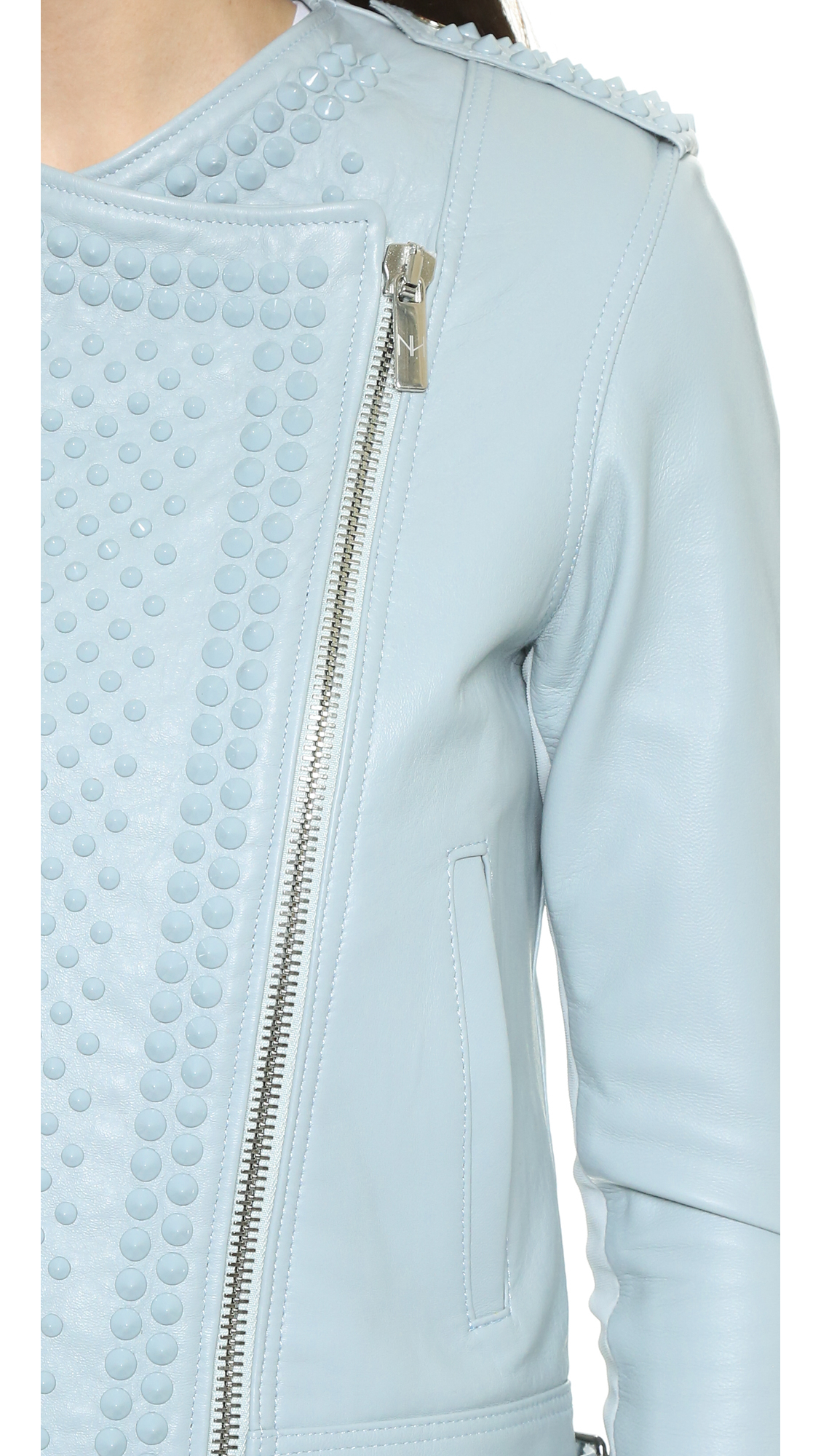 Nour Hammour Erin Motorcycle Leather Jacket In Light Blue